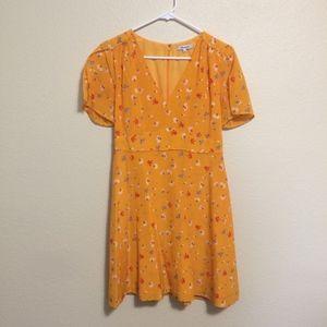 Madewell yellow floral silk belladonna dress